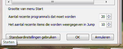 Groter start menu in Windows 7