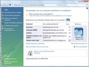 Hoge prestatie score in Windows Vista