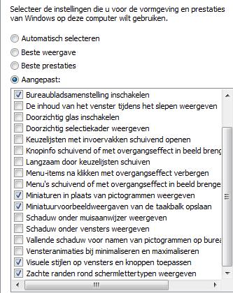 Visuele effecten aanpassen in Windows 7