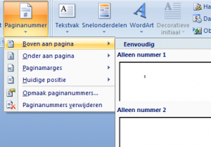 paginanummer instellen in Microsoft word