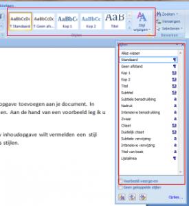 Inhoud opgave maken Microsoft office word
