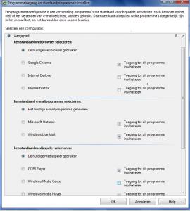 Programmatoegang en standaardprogramma instellen