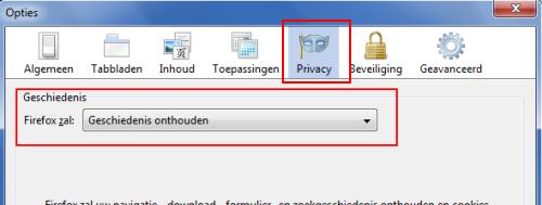 Firefox geen geschiedenis onthouden