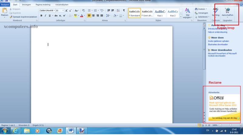 Microsoft Word starter screenshot